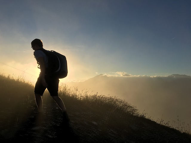 mountain, silhouette, man