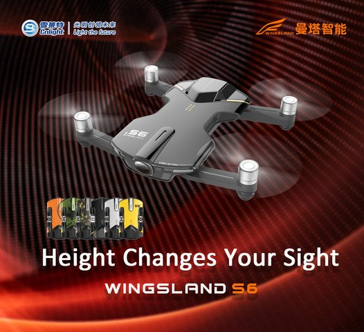 Cnlight.Wingsland S6, 4K Pocket Drone, unveiled at 2017CES...