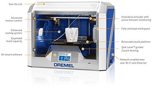 Dremel 3D40-01 Idea Builder 2.0 3D Printer, Wi-Fi Enabled with Guided Levelin...
